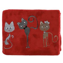 Plaid Polaire Cats Rubis
