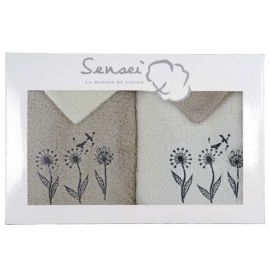 Coffret serviettes Flower bird Ecru/Ficelle