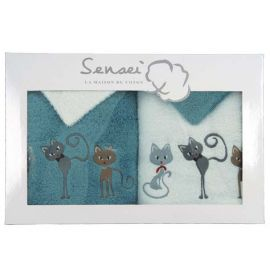 Coffret serviettes Cats Aqua/Blanc