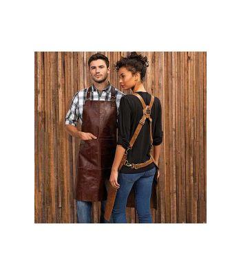 Tablier bavette en cuir véritable avec bretelles croisées dans le dos