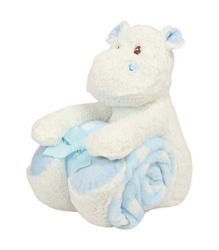 Peluche + Couverture Hippo bleu