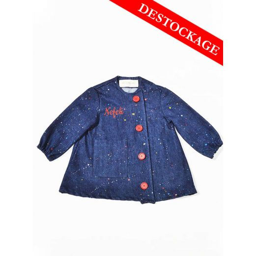 Blouse enfant Denim upcycle Boutons Rouges