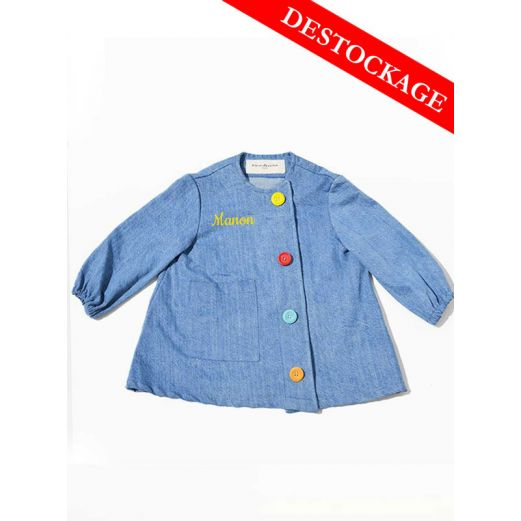 Blouse enfant Denim upcycle Boutons Multico