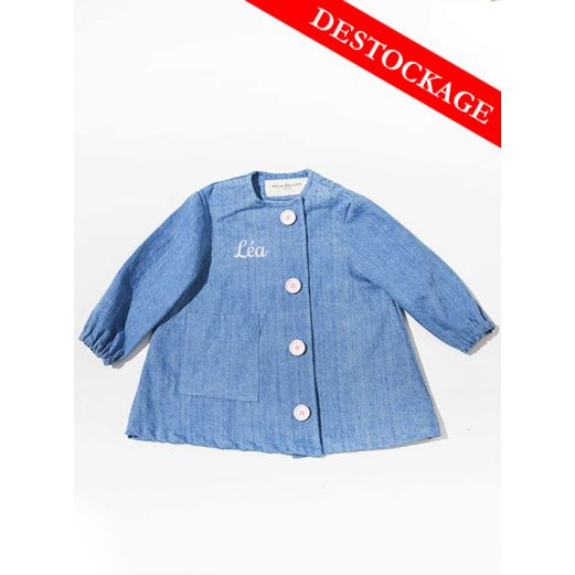 Blouse enfant Denim upcycle Boutons Roses